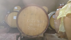 My wine in its barrel. You can tell it's mine because of the appalling handwriting..